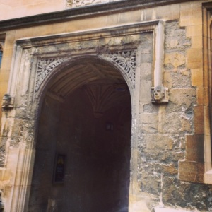 Walking into the main library quadrangle, on passes through these ancient corridors