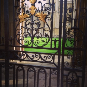 Wrought iron fences protecting the entrance into an adjacent college
